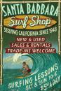 Santa Barbara, California - Surf Shop Vintage Sign (9x12 Art Print, Wall Decor Travel Poster)