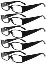 Eyekepper 5 Pairs Reading Glasses for Women Reading +1.75 Black Frame Reading Eyeglasses