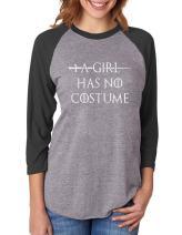 A Girl Has No Costume - Funny Halloween 3/4 Women Sleeve Baseball Jersey Shirt