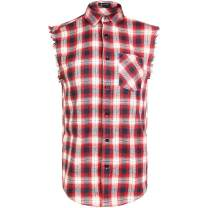 Sleeveless Plaid Front Shirt for Men,Cowboy Button Down Shirts