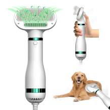 ICECORAL Pet Hair Dryer with Slicker Brush, 3 Heat Settings, Professional 2 in 1 Pet Grooming Blower, One Button Hair Removal, Portable Dog Dryer for Large Medium Small Dog Cat