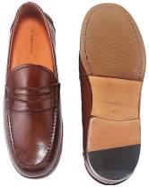 ELANROMAN Men's Loafers Leather Penny Dress Formal Shoes for Men