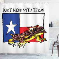 "Ambesonne Reptile Shower Curtain, Illustration of Warrior Horned Toad Standing for Texas City American Dream, Cloth Fabric Bathroom Decor Set with Hooks, 75"" Long, White Blue"