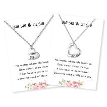 Myrnaist Mother Daughter Necklaces Set Puzzle Heart Big Sis Lil Sis Sister Mom Jewelry Necklace Set