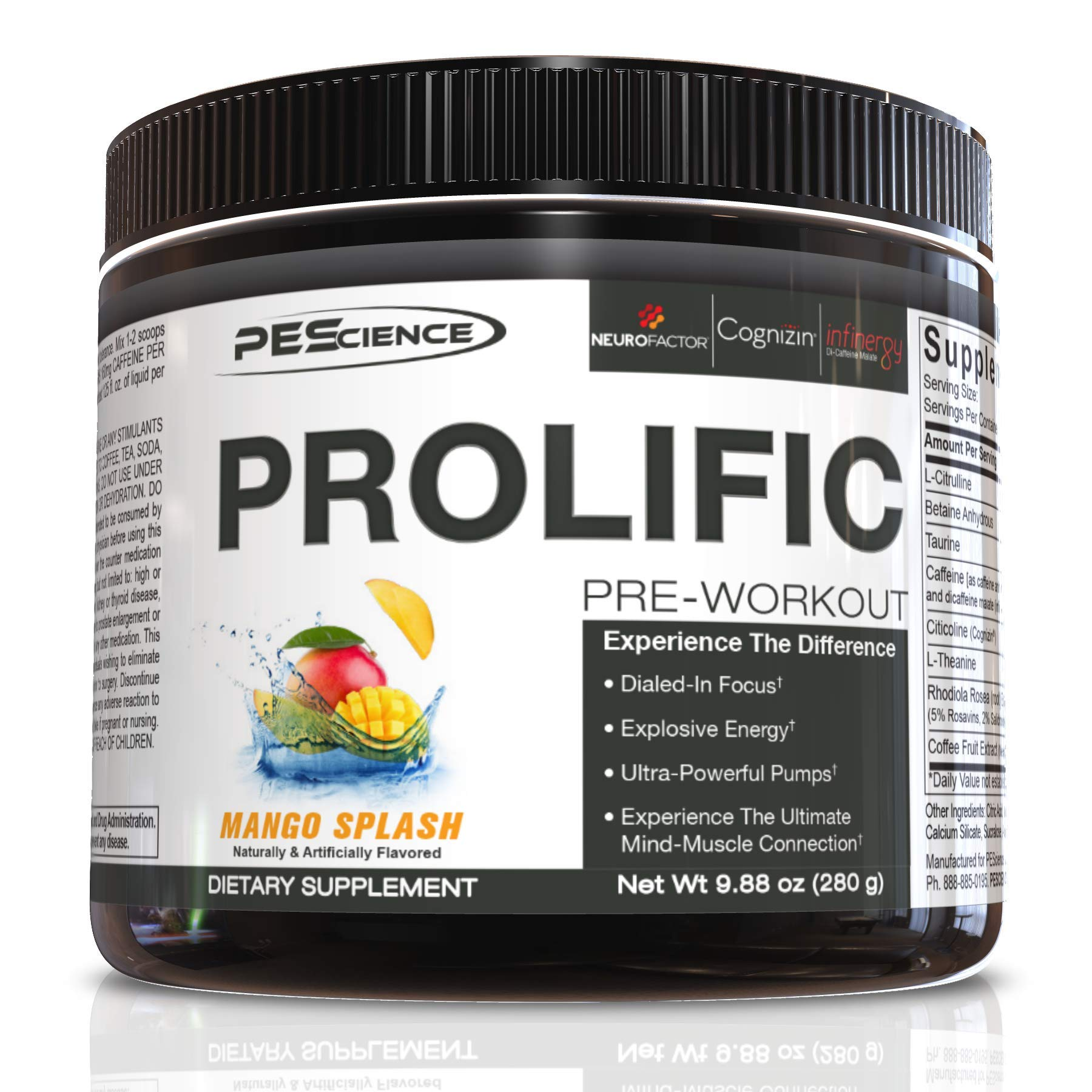 PEScience Prolific Pre Workout Powder, Mango Splash, 40 Scoops, Energy Supplement with Nitric Oxide