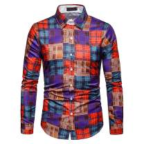 ZHPUAT Men's Button Down Plaid Shirt with Long Sleeve Casual Flannel Shirt for Work