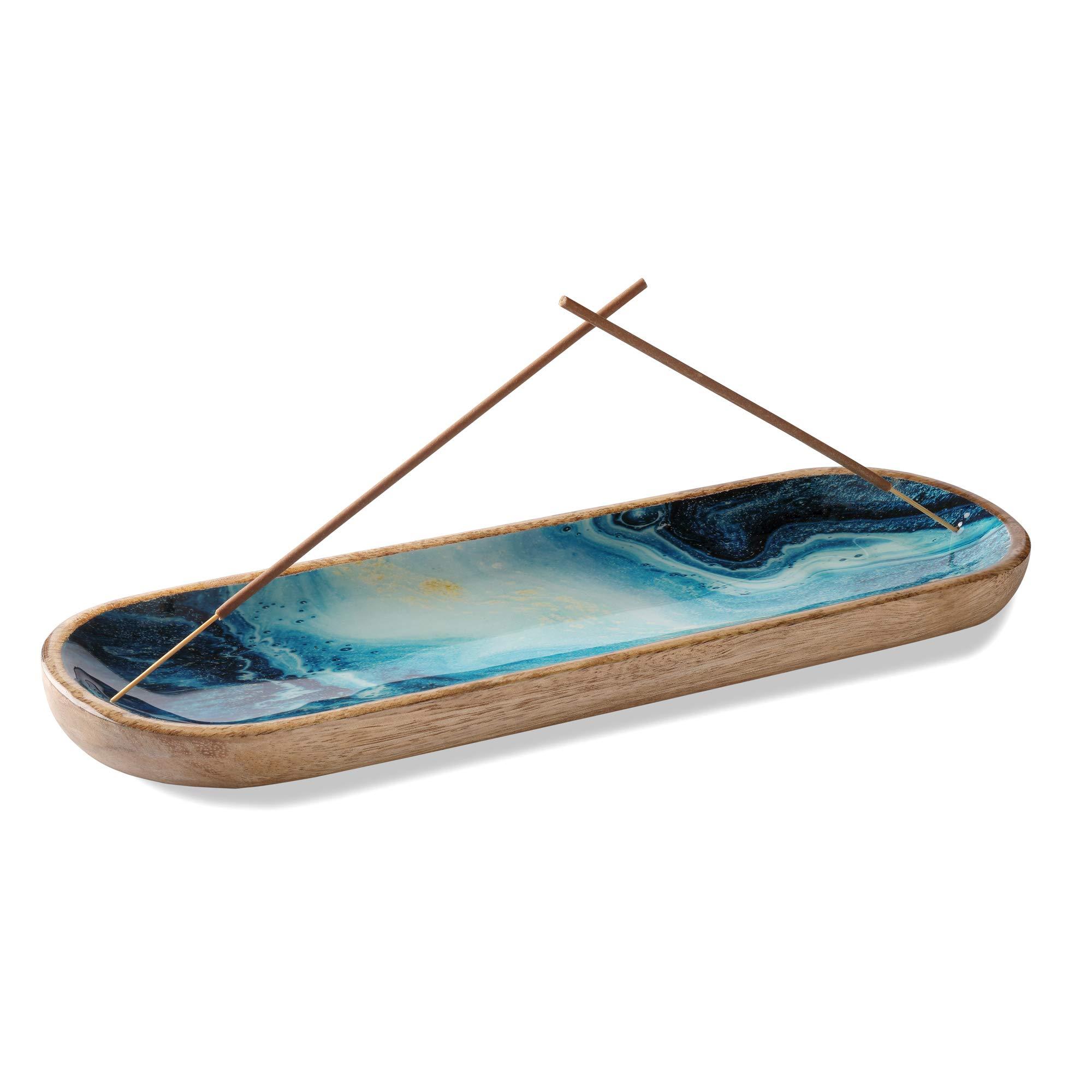 Folkulture Incense Holder or Insence Burner Holder, Modern Incense Ash Catcher or Insense Stick Holder for Home Décor, Wooden Incense Tray for Sticks, Mango Wood Trough, Blue