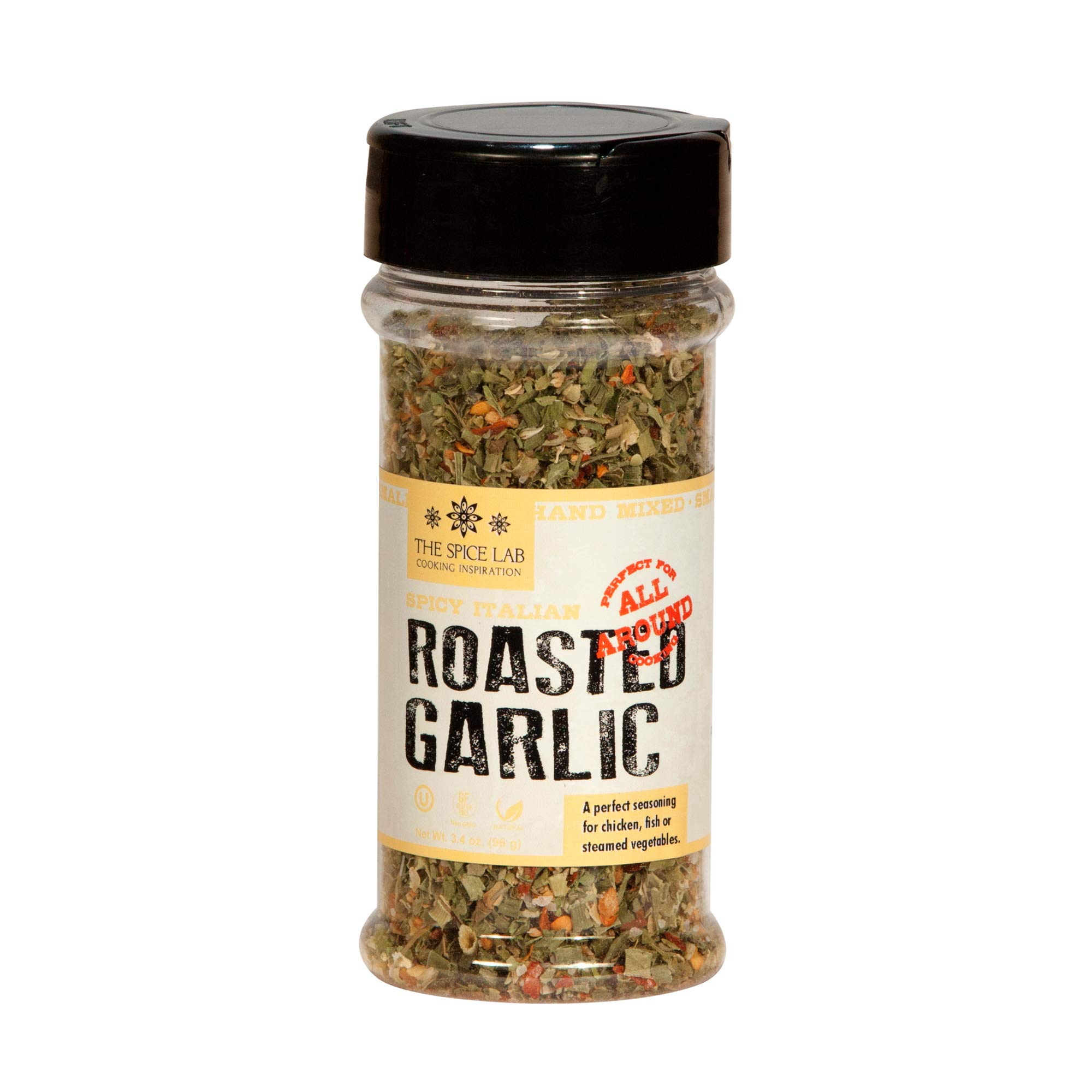 The Spice Lab - Spicy Roasted Garlic Italian Seasoning Blend - Spice Shaker Jar – 3 oz - Excellent Pasta Sauce or BBQ Grill Seasoning - Gluten Free All Natural – Spicy Italian Blend No 7606