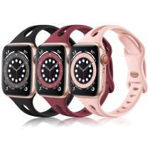 (3 Pack) Vcegari Compatible with Apple Watch SE Bands 44mm Women, Slim Replacement Silicone Strap for iWatch 42mm Band Series 6 5 4 3 2 1, Black/Wine/Pink