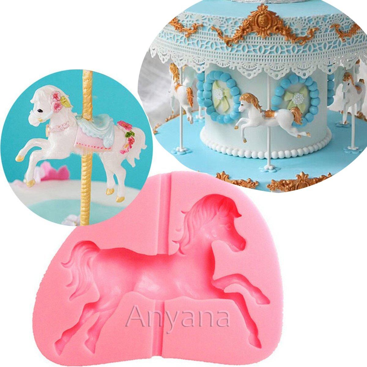 Anyana Merry Go Round Carousel Horse Silicone Animal Mould Cake Fondant Gum Paste Mold For Sugar Paste Birthday Cupcake Decorating Topper Decoration Sugarcraft Decor