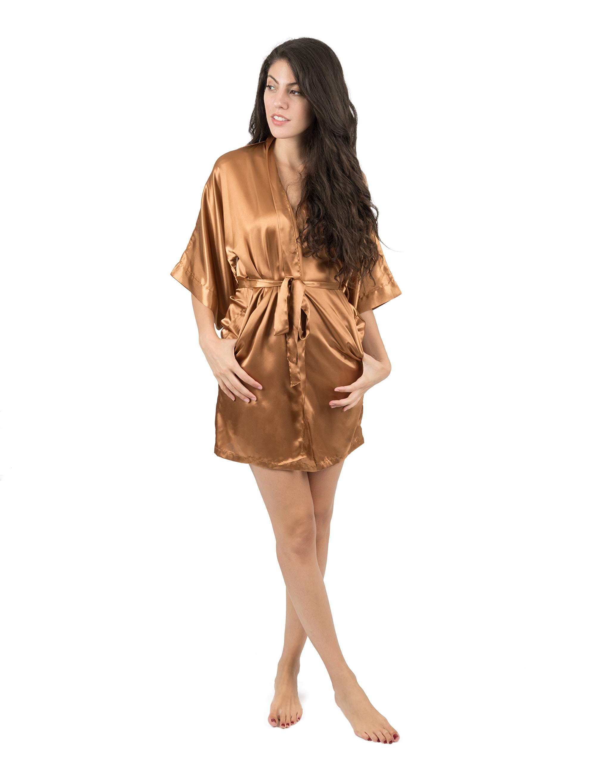 Leveret Womens Satin Robe Christmas Robe (Size X-Small-XX-Large)