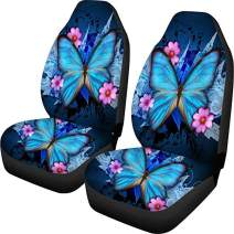 Coloranimal Blue Butterfly Flower Car Sseat Covers Front Seats Only for Women Cushion Mat Set Pack of 2