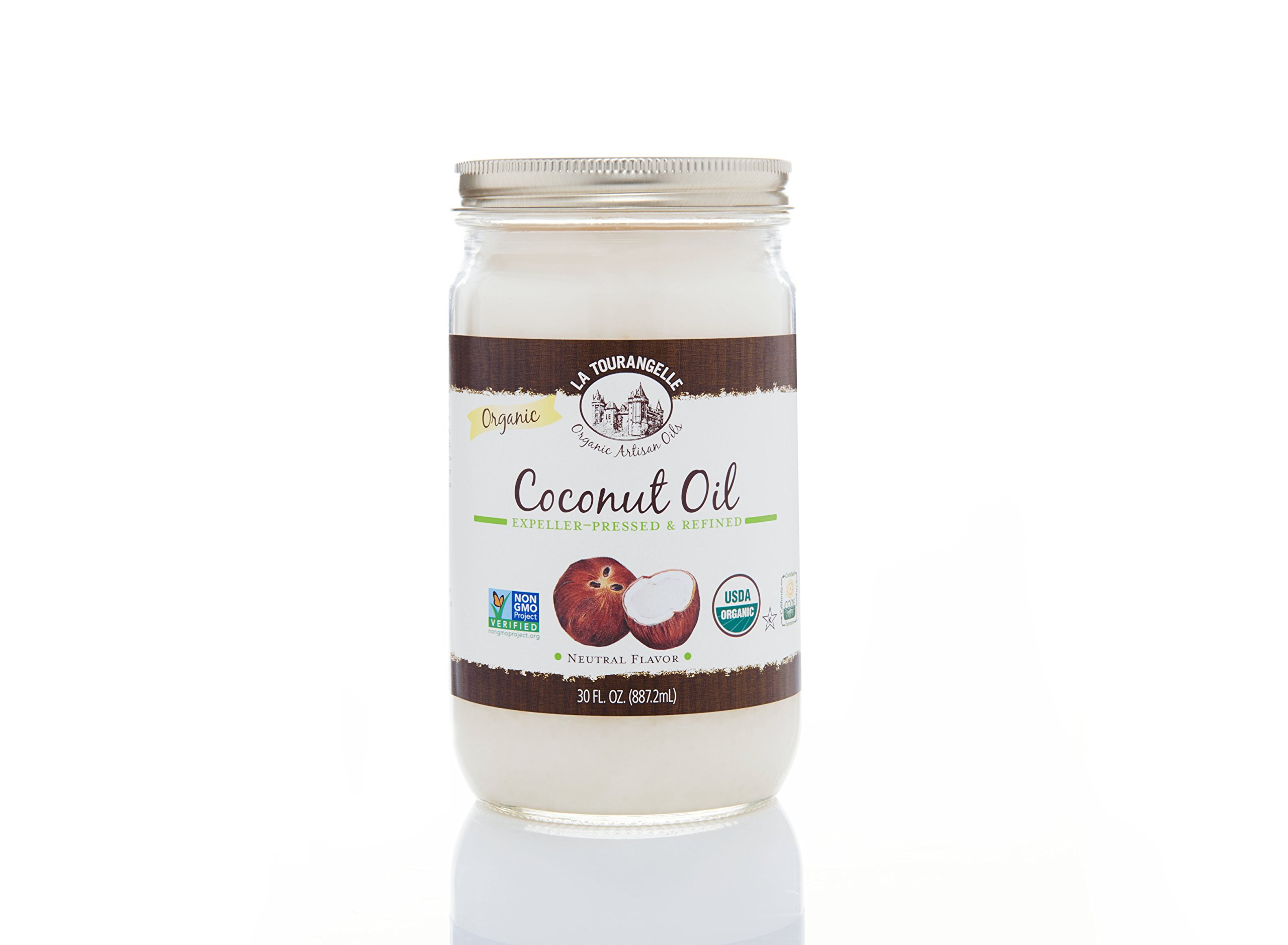La Tourangelle Organic Refined Coconut Oil 30 Fl. Oz., Organic Coconut Oil, Great for Cooking Baking and Hair and Skin Care