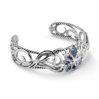 Carolyn Pollack Sterling Silver Opal Triplet, Purple Amethyst and Blue Topaz Gemstone Butterfly Cuff Bracelet Size S, M or L
