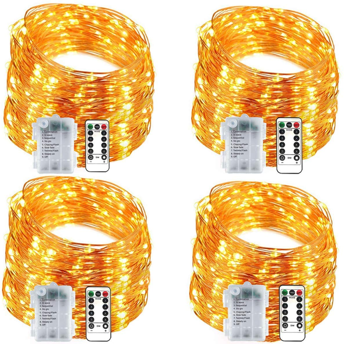 4 Pack Fairy Lights 12ft 20 Mini LEDs String Lights Battery Operated Waterproof