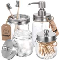 AOZITA Mason Jar Bathroom Accessories Set 4 Pcs - Mason Jar Soap Dispenser & 2 Apothecary Jars & Toothbrush Holder - Rustic Farmhouse Decor, Bathroom Home Decor Craft - Brushed Nickel (Silver)