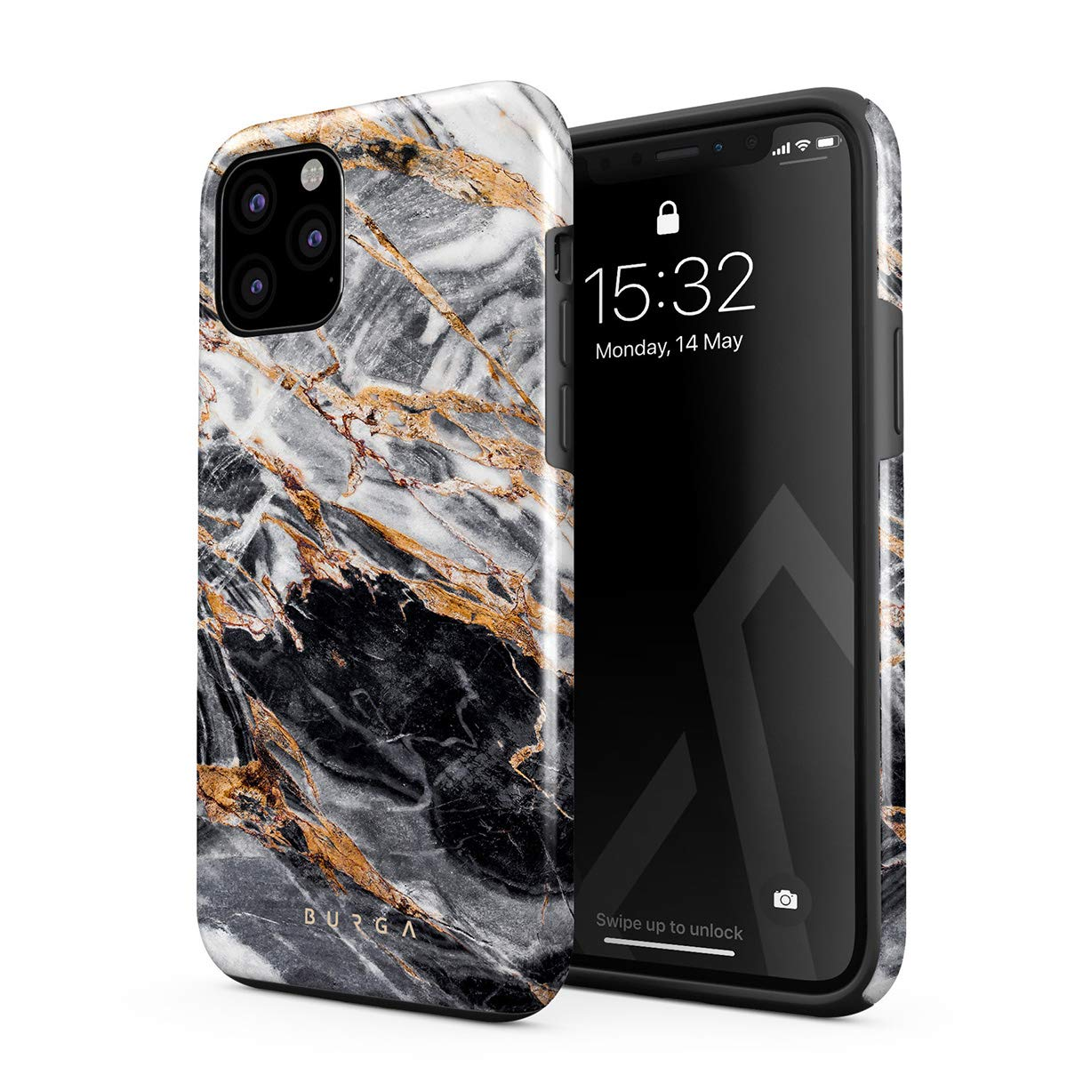 BURGA Phone Case Compatible with iPhone 11 PRO MAX - Black and Gold Marble Stone Cute Case for Girls Heavy Duty Shockproof Dual Layer Hard Shell + Silicone Protective Cover