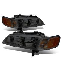 Replacement for Honda Accord Pair Smoked Housing Amber Corner Bumper Driving Headlight/Lamps