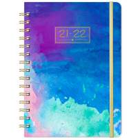 """Planner 2021-2022 - Academic Planner 2021-2022, Weekly & Monthly Planner, 8.43"""" x 6.3"""", July 2021 - June 2022, Flexible Spiral Hardcover with Strong Golden Binding, Elastic Closure, Coated Tabs"""