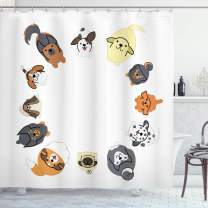 "Ambesonne Dog Shower Curtain, Various Different Dogs in Cartoon Style Looking up in Circle Characters, Cloth Fabric Bathroom Decor Set with Hooks, 84"" Long Extra, Brown Yellow"