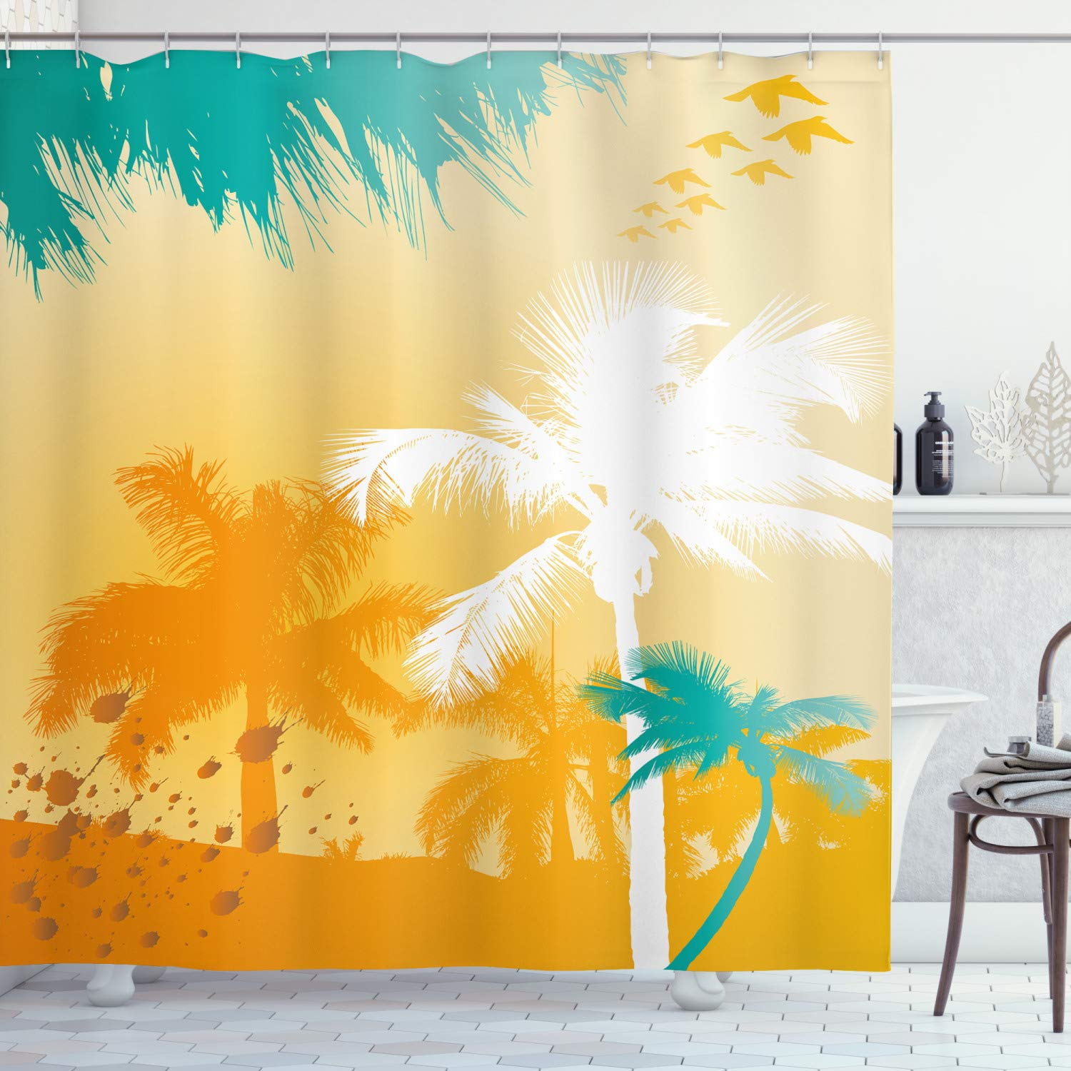 """Ambesonne Tropical Shower Curtain, Grunge Style Vibrant Palms Silhouette Paradise with Funky Retro Graphic, Cloth Fabric Bathroom Decor Set with Hooks, 75"""" Long, Marigold Teal"""