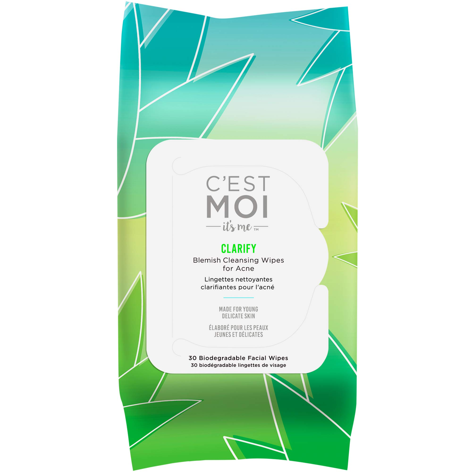 C'est Moi Clarify Facial Wipes | Gentle Face Cleansing Wipes, Controls Breakouts, Clinically Tested Natural & Organic Non-Toxic Ingredients Including 1% Salicylic Acid for Acne, 30 Biodegradable Wipes