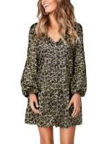 TOPUSH Womens V Neck Long Sleeve Button Down Tie Waist Casual Midi Tunic Dress