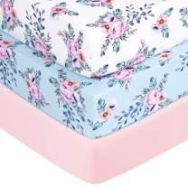 "TILLYOU Jersey Knit Moisture Wicking Crib Sheets, 170 GSM Thick Soft Breathable Baby Bed Sheets for Girls, 28"" x 52"" x 8'' Stretchy Toddler Mattress Sheets, 3 Pack Floral"