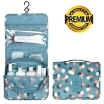 Travel Kit Organizer Bathroom Storage Toiletry Bag with Hanging Hook,Hanging Organizer Bag for Women Girls, (Blue Flowers)