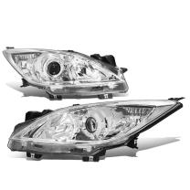 Chrome Housing Clear Corner Projector Headlight Headlamp - Pair - Replacement for Mazda 3 10 11 12 13