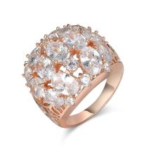 Aprilery Rose Gold Cocktail Rings for Women, Cz Big Bold Dome Statement Rings for Women