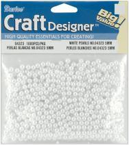 Darice 1000-Piece Round Pearl Bead, 5mm, White (3-Pack)