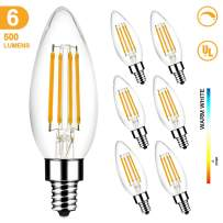 LED Light Bulbs 60W Equivalent, MEGAMAN B10 E12 5W 2700K Dimmable Candelabra Led Bulbs for Ceiling Fan and Chandelier, 500LM, CRI85, UL Listed, (6-Pack)