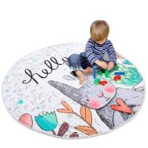 YJ.GWL Round Kids Play Rugs Foldable Baby Carpet Playmat with Drawstring and Storage Bag for Toddlers Playroom Bedroom, Rabbit 59'' x 59''