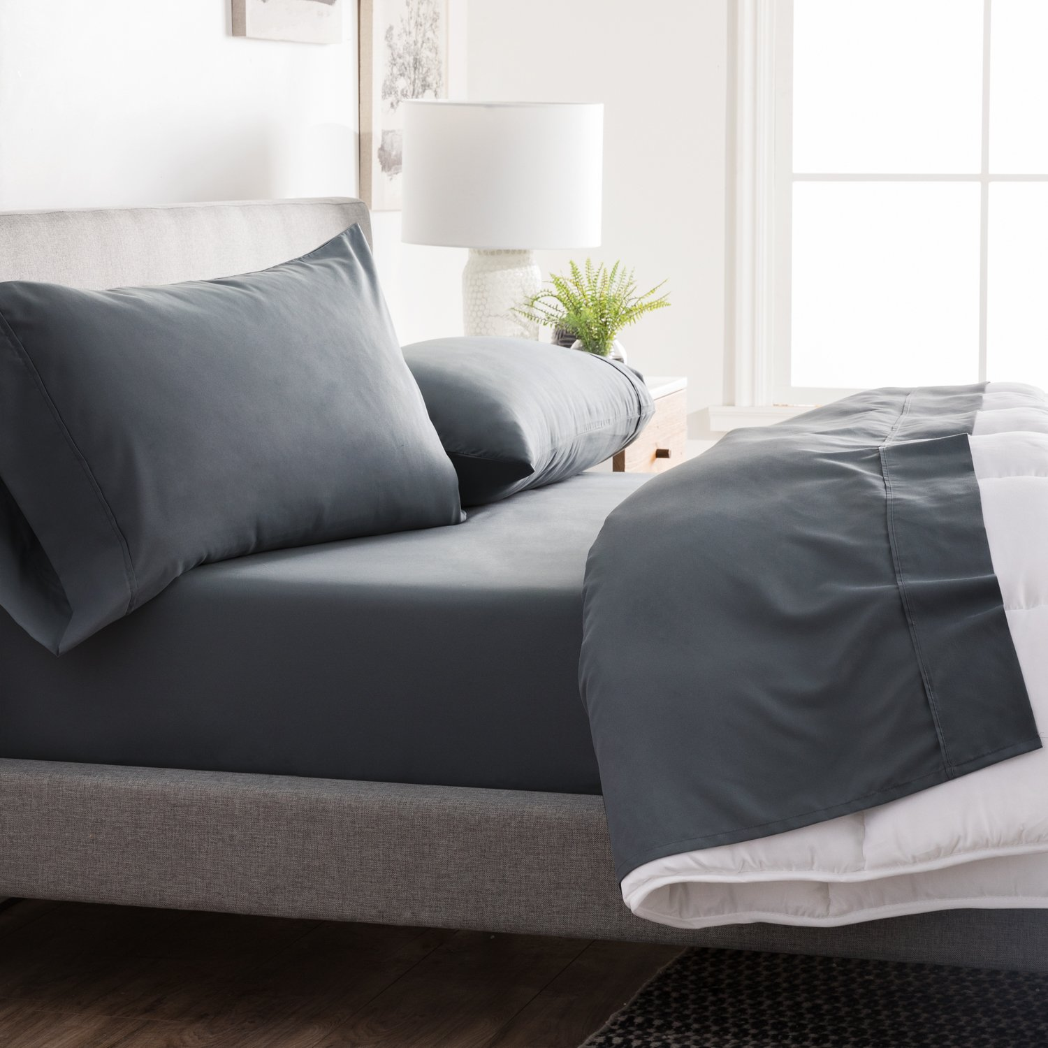 Brookside - Microfiber Sheet Set - Soft and Cozy - Hypoallergenic - Easy Care Fabric - Stain and Wrinkle Resistant - Split California King - Slate