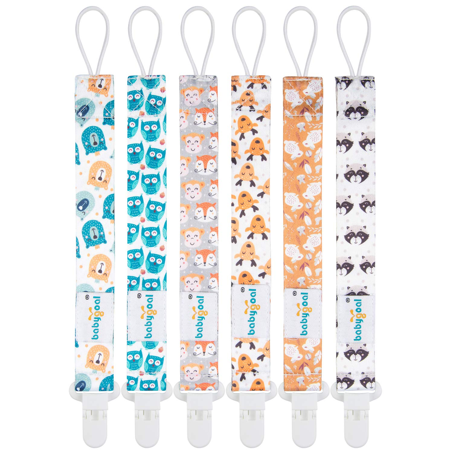 Babygoal Pacifier Clips, 6 Pack Pacifier Holder for Boys and Girls Fits Most Pacifier Styles &Teething Toys and Baby Shower Gift 6PB01