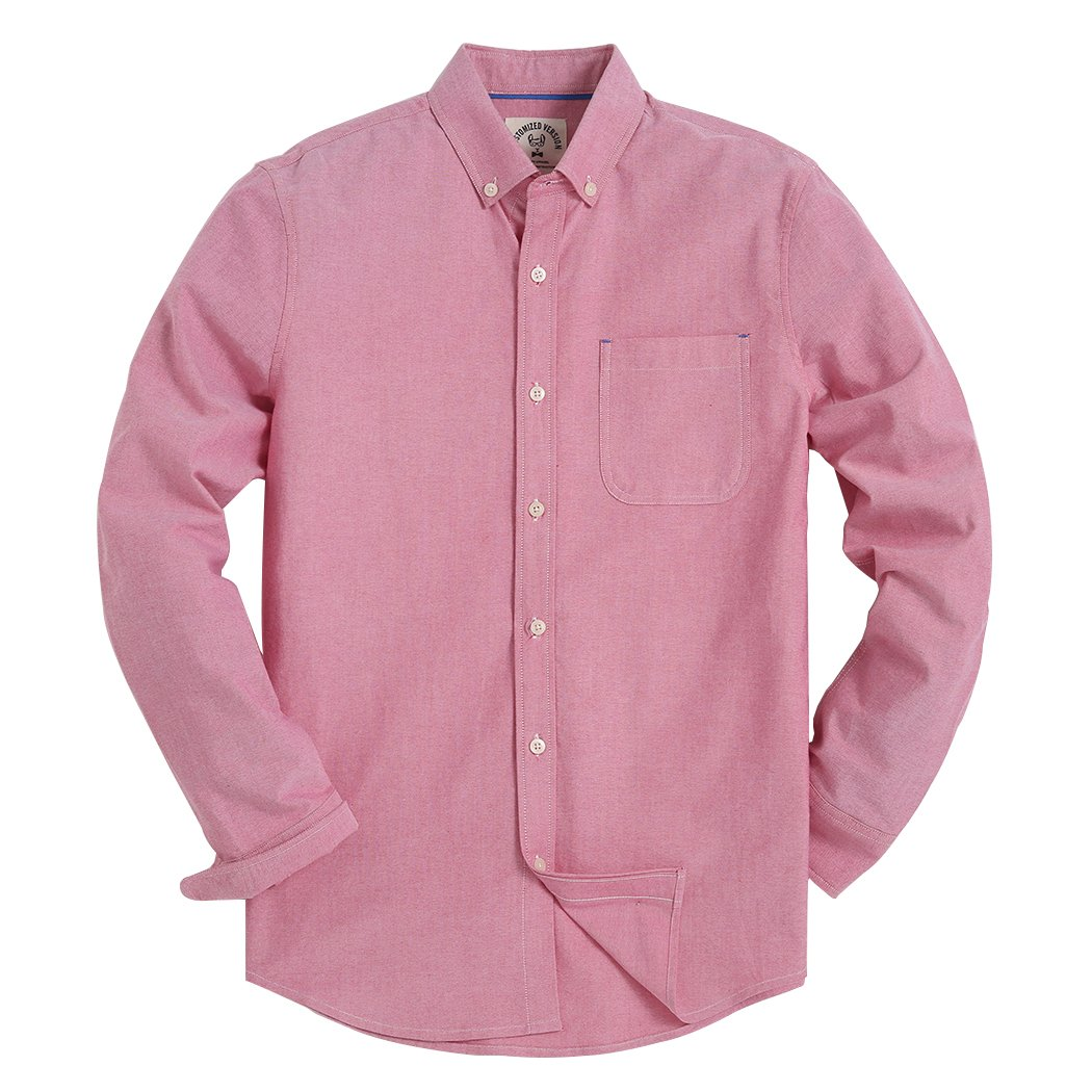 Men's Long Sleeve Shirt Regular Fit Solid Color Oxford Casual Button Down Dress Shirt Red Large