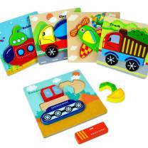 Wooden Preschool Puzzles Gifts for Toddlers 2+ Years Old, Bright Vehicle Jigsaw Shape Puzzles with Storage Bags (5 Pack)