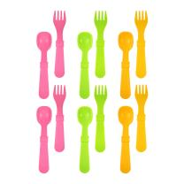 RE-PLAY MADE IN THE USA 12pk Fork and Spoon Utensil Set for Easy Baby, Toddler, and Child Feeding in Bright Pink, Lime Green and Sunny Yellow | Made from Eco Friendly RECYCLED Milk Jugs | (Pink Asst.)
