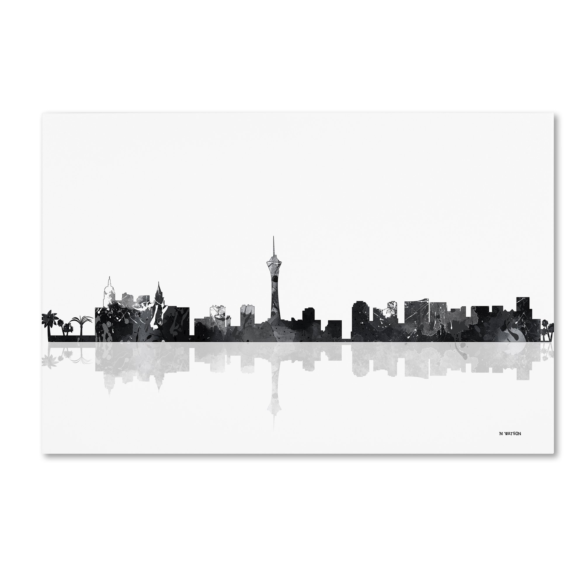 Las Vegas Nevada Skyline BG-1 by Marlene Watson, 16x24-Inch Canvas Wall Art