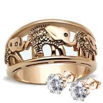 Steel Elephant Rings Elephant Rings Stainless Steel Yellow Crystal Women's Engagement Promise Ring Valentine Gift for Girl Friend Sister SPJ