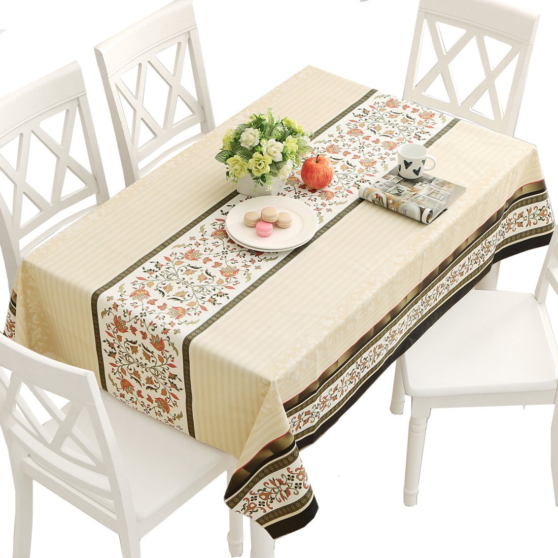DUOFIRE Vinyl Tablecloth Rectangle Heavy Weight Table Cover Wipe Clean Waterproof (54 x 78.7 Inch, Color-No.015)