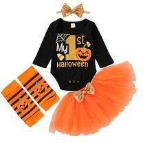 Baby Girl My First Halloween/Thanksgiving Outfit Pumpkin/Turkey Letter Romper+Tutu Skirt+Leg Warmers+Headband Clothes Set