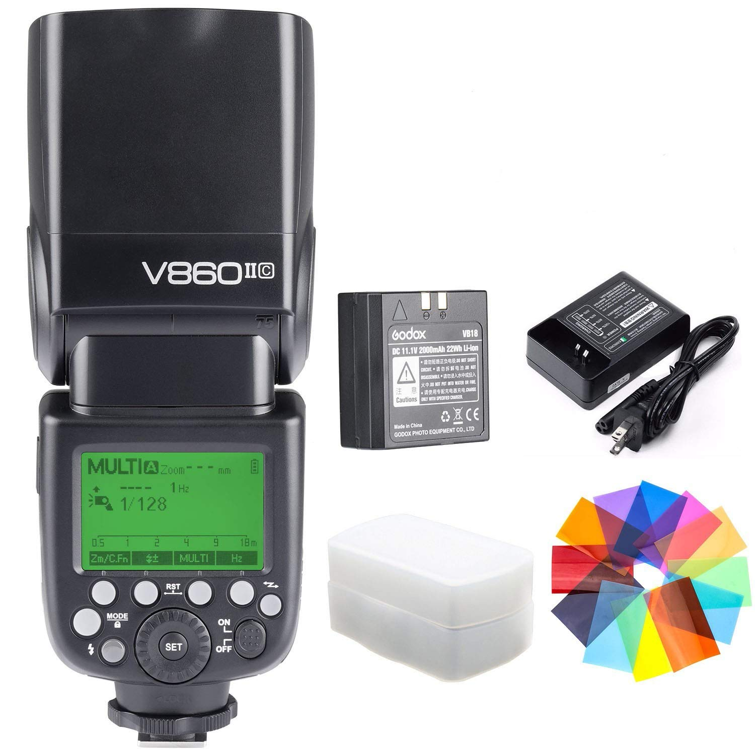 Godox V860II-C Kit E-TTL High Speed Sync 1/8000s 2.4G GN60 Li-ion Battery 1.5s Recycle Time Camera Flash Speedlite Light for Canon EOS Cameras with Color Filters (V860II-C)