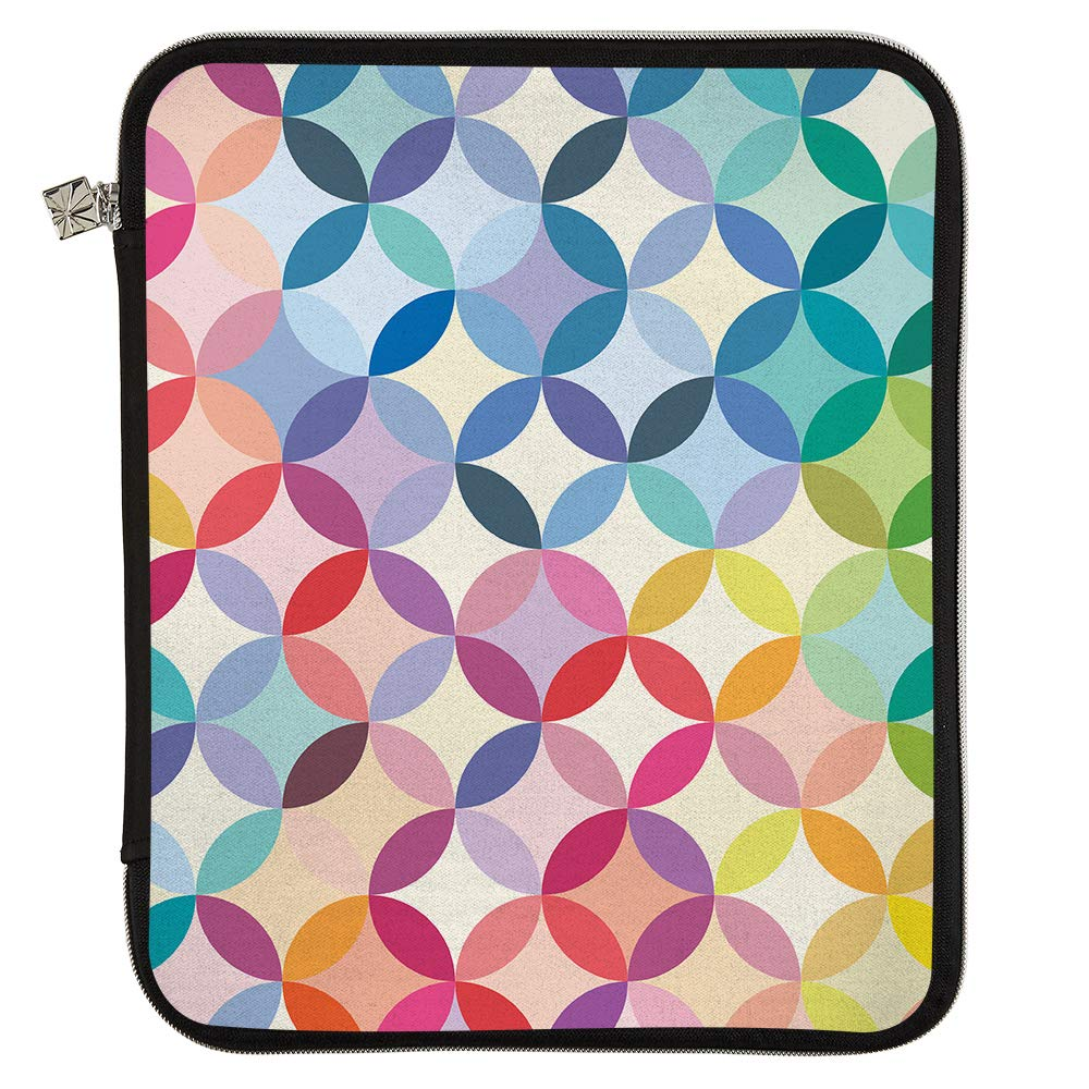 Erin Condren Large Designer Planner Folio - Mid Century Circles, Perfect Organizer for Documents, Planners, and Notebooks. Portfolio Case Holder with Zipper and Inner Pouch