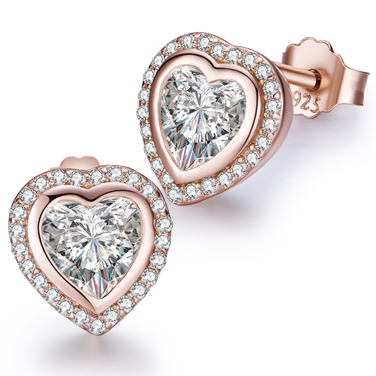 Twenty Plus Sparkling One Love Heart Shaped Stud Earrings with CZ Jewelry Gifts for Women