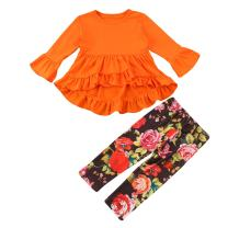 Toddler Kid Baby Girls Long Sleeve Ruffle Shirt Tops Infant Floral Long Pants Outfit 2 Pcs Clothes Sets
