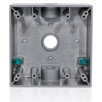 """Leviton 2GM53-GY 2-Gang Weatherproof Box with Three 1/2"""" Diameter Outlets"""