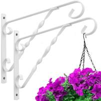 Amagabeli 2 Pack Hanging Plants Brackets 12'' Wall Planter Hooks Hangers Flower Pot Bird Feeder Wind Chimes Lanterns Patio Lawn Garden for Shelf Outdoor Indoor Fence Wall with Screws Metal White