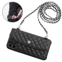 """Cobble Pro Leather Wallet Case Compatible with iPhone Xs (2018) 5.8"""", iPhone X (2017) Luxury Leather Flip Case Cover Card Holder w/Magnetic Closure [2 Interchangeable Chains], Black"""